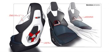 Skoda Vision RS Concept Interior Seat Design Sketches