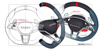 Skoda Vision RS Concept Interior Steering Wheel Design Sketches