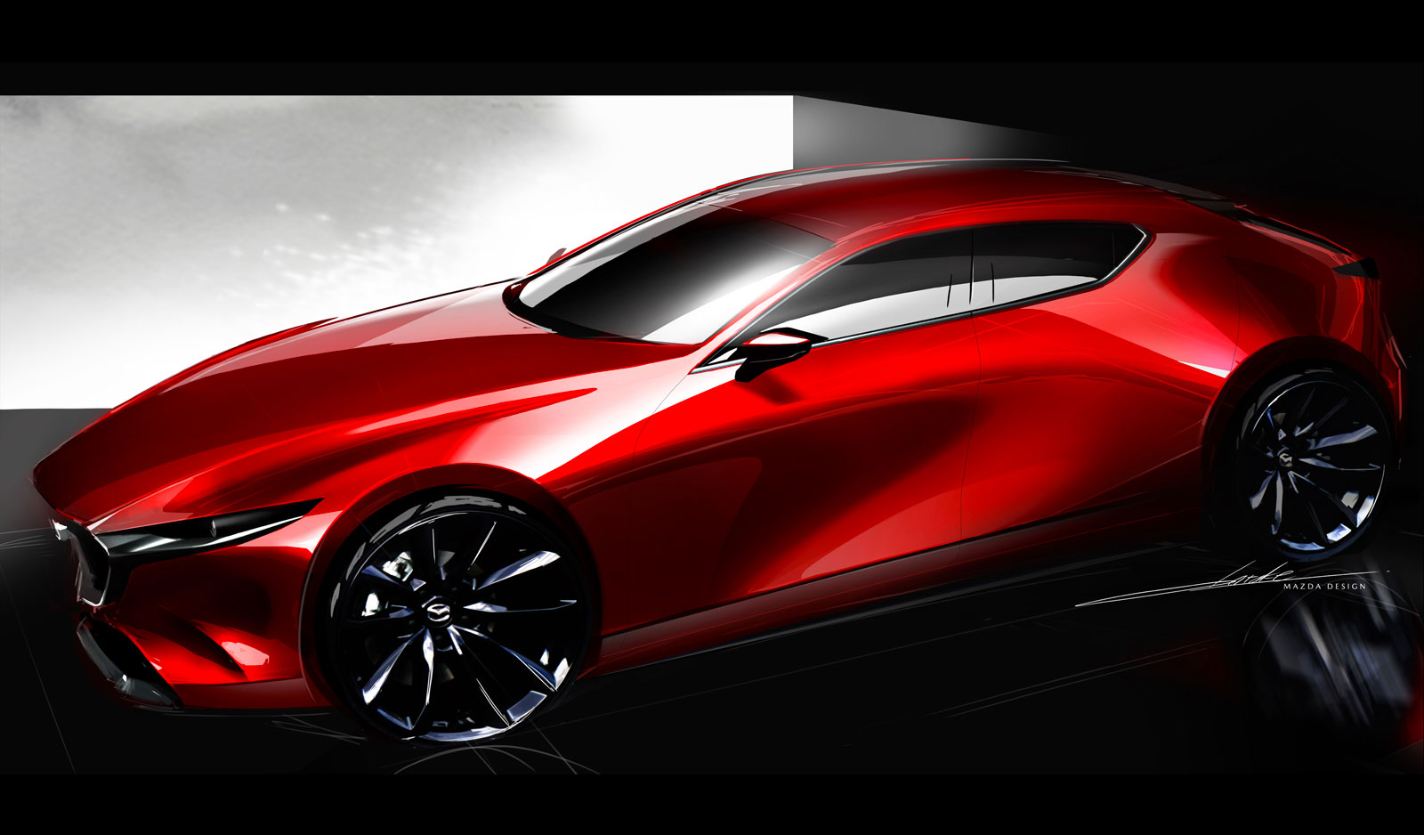 Mazda3 Hatchback Design Sketch Render Car Body Design