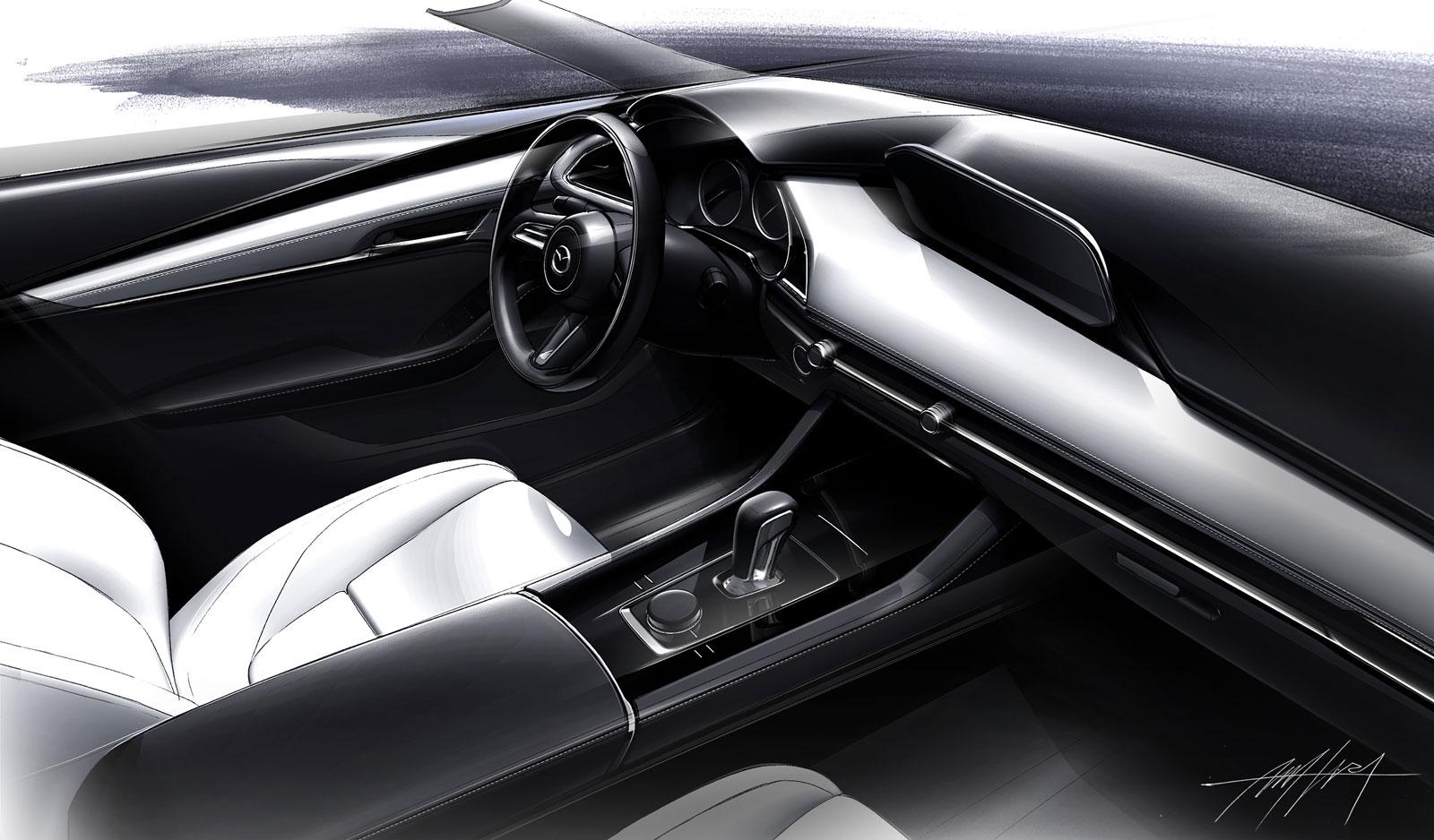 Mazda3 Interior Design Sketch Render Car Body Design
