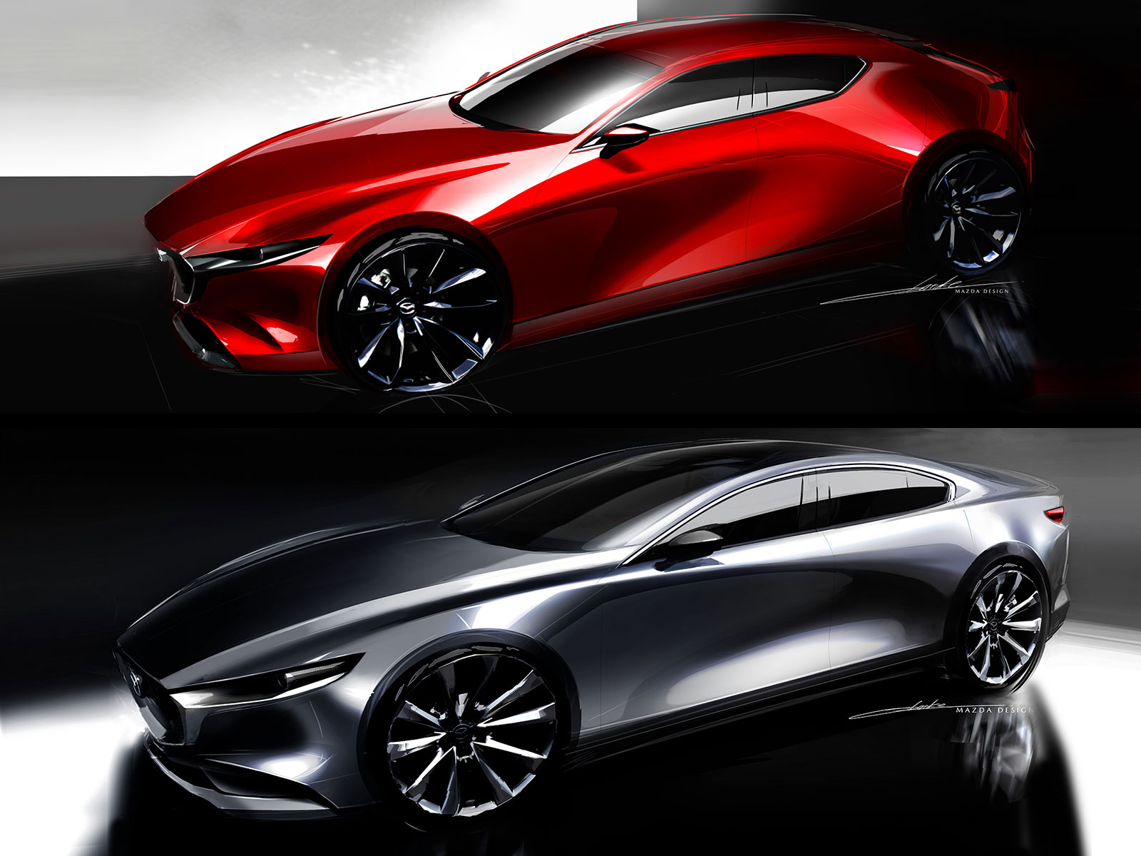 New Mazda3 Sedan and Hatchback Design Sketches