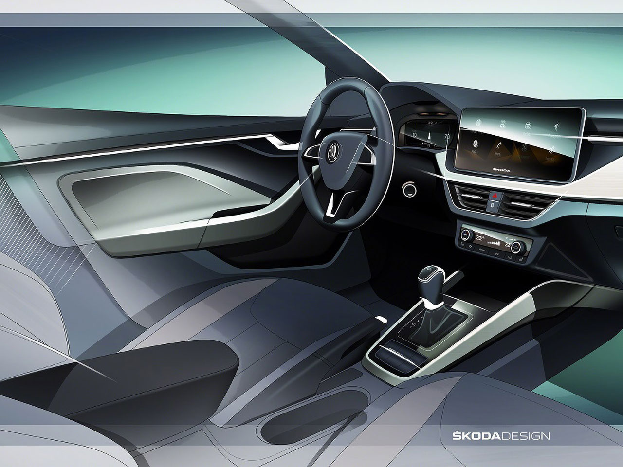 Skoda scala interior design sketch detail