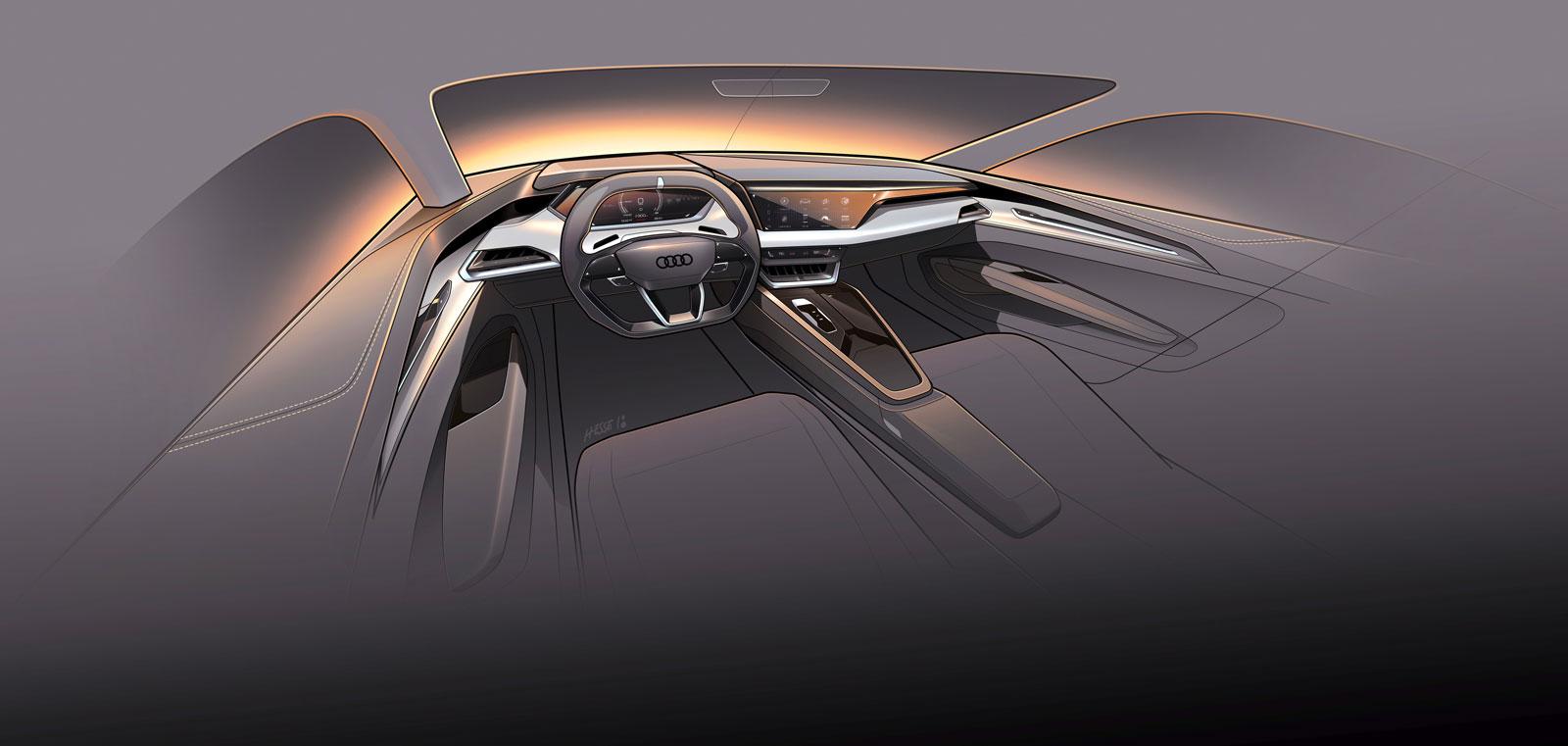 Audi E Tron Gt Concept Interior Design Sketch Render Car Body Design