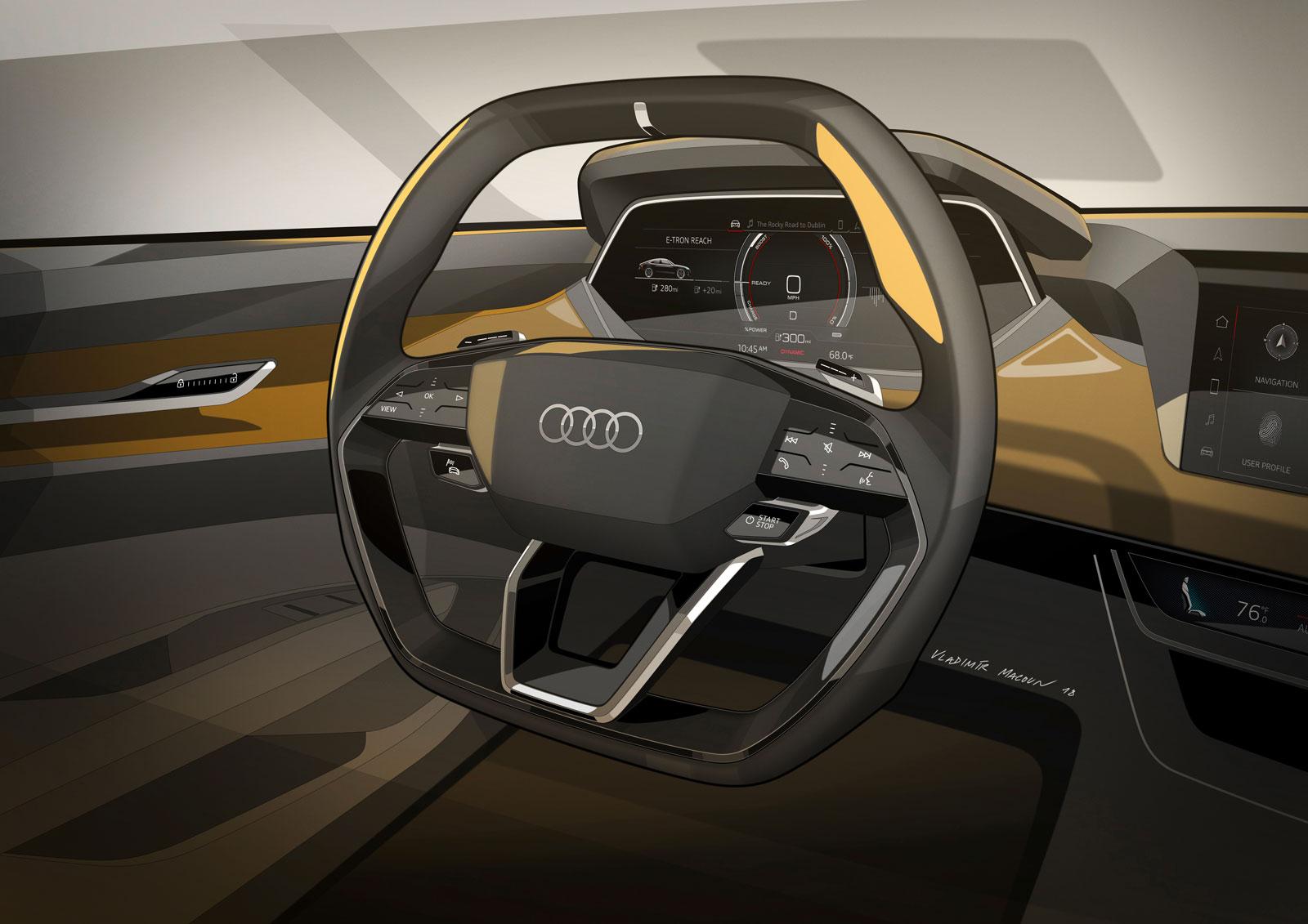 Audi E Tron Gt Concept Interior Design Sketch Render Steering Wheel Car Body Design