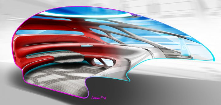 Mercedes-Benz Vision Urbanetic Concept Interior Design Sketch Render