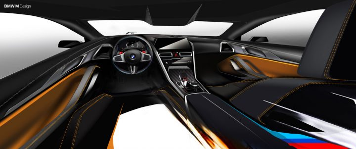 BMW M8 Coupe Interior Design Sketch Render
