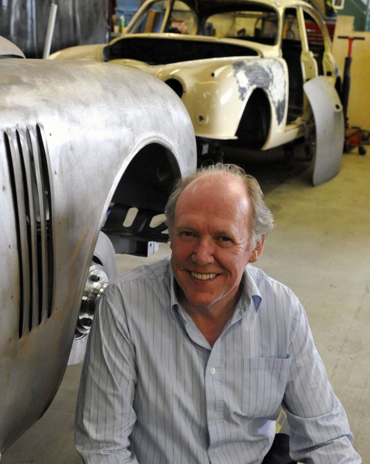 Ian Callum next to the Callum MK2 at CMC
