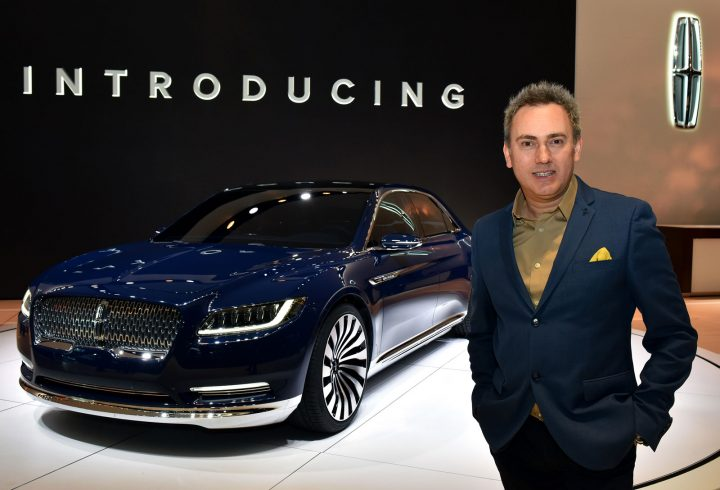 Lincoln Design Director David Woodhouse with the Lincoln Continental Concept at the NY Auto Show 2015