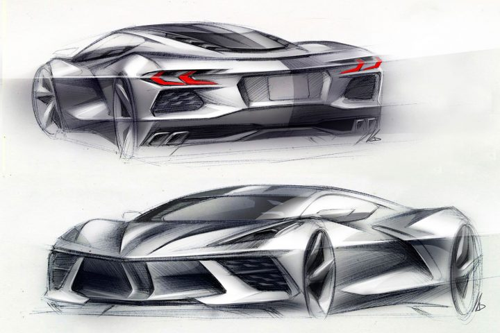2020 Chevrolet Corvette Stingray Design Sketch Renders