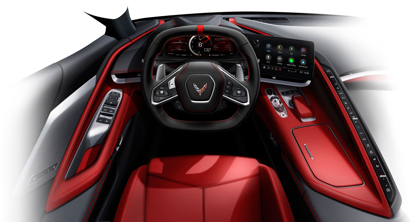 2020 Chevrolet Corvette Stingray Interior Design Sketch Render