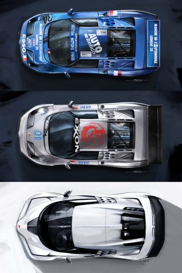 Bugatti EB110 and Centodieci Top View design sketch renders
