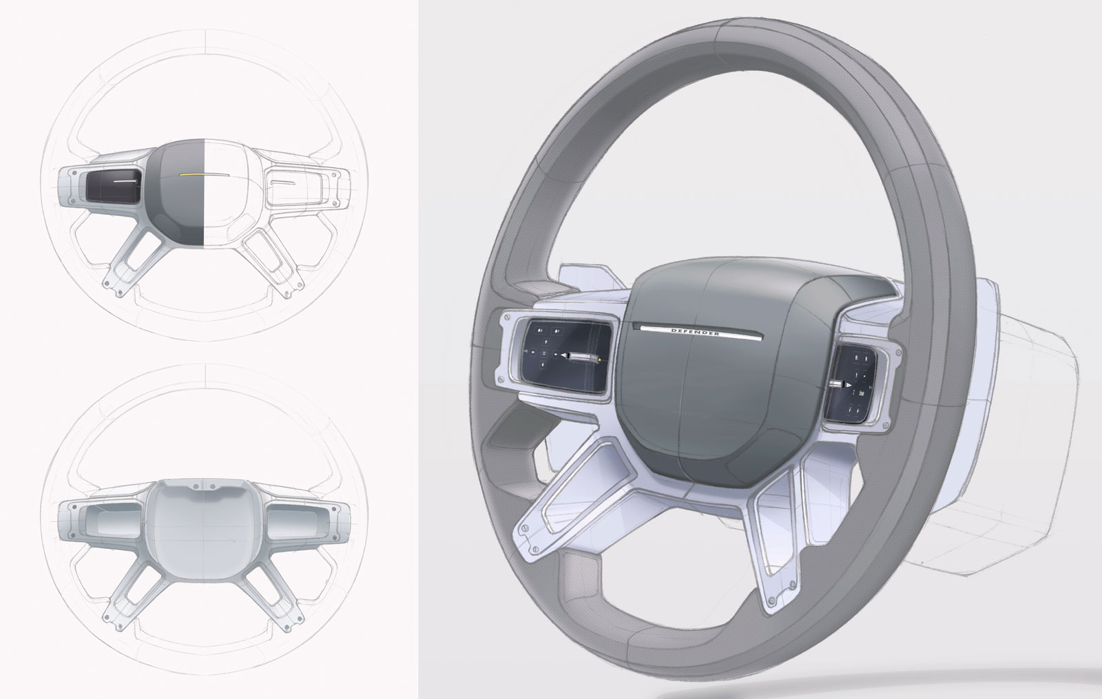 New Land Rover Defender Steering Wheel Design Sketch Render