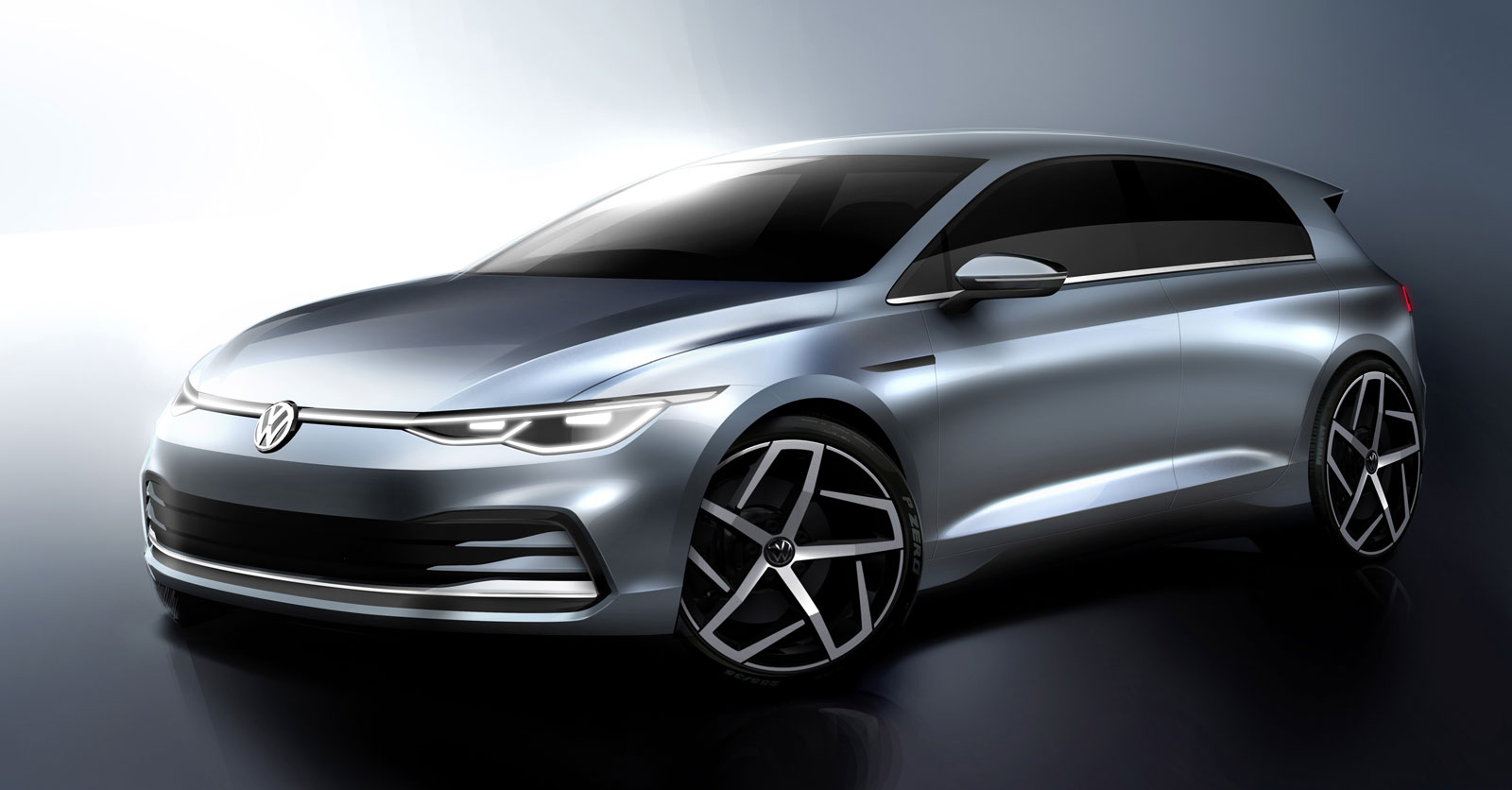 Volkswagen 8th gen Golf Design Sketch Render