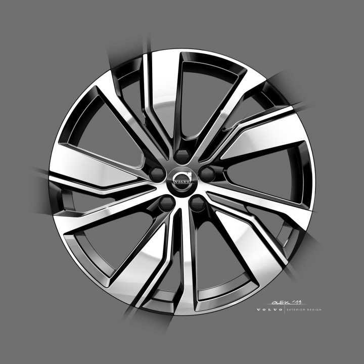 Volvo fully electric XC40 Wheel Design Sketch