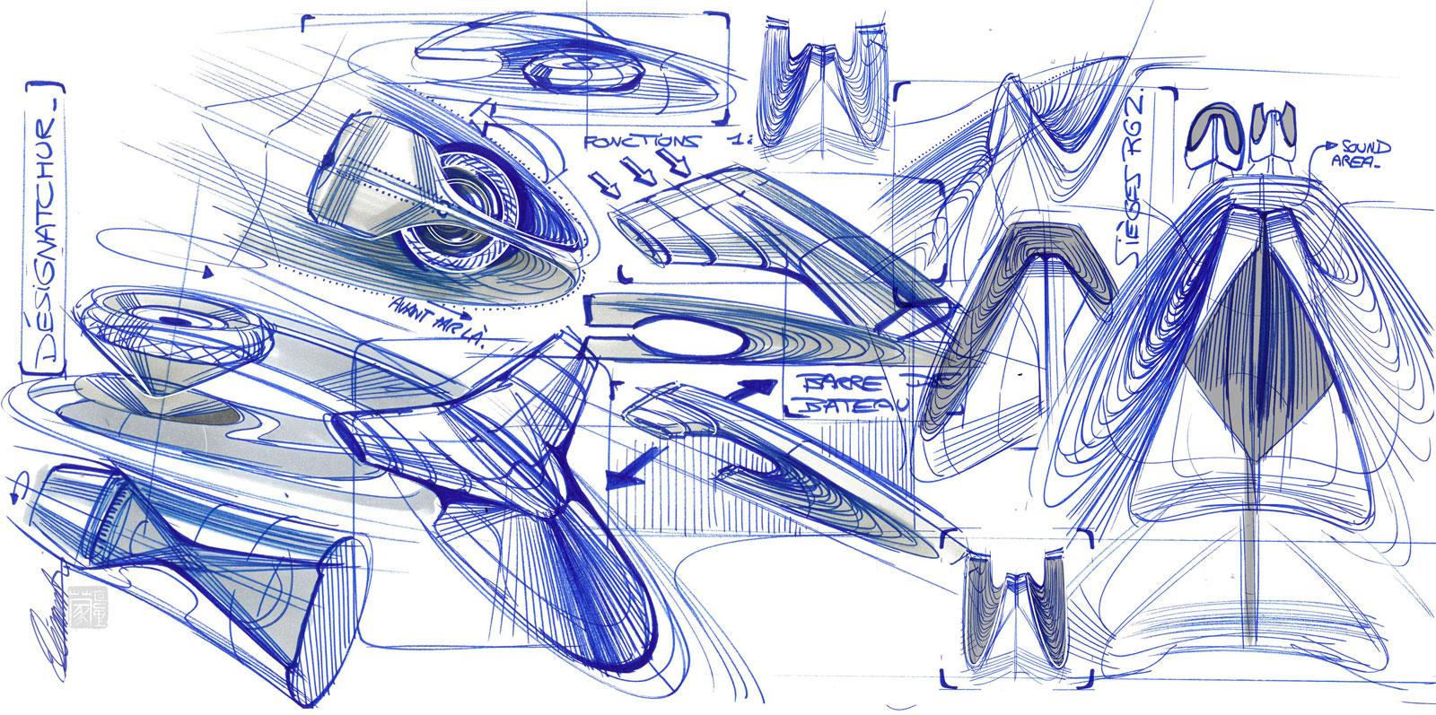 Ds Aero Sport Lounge Concept Interior Design Sketches Car Body Design