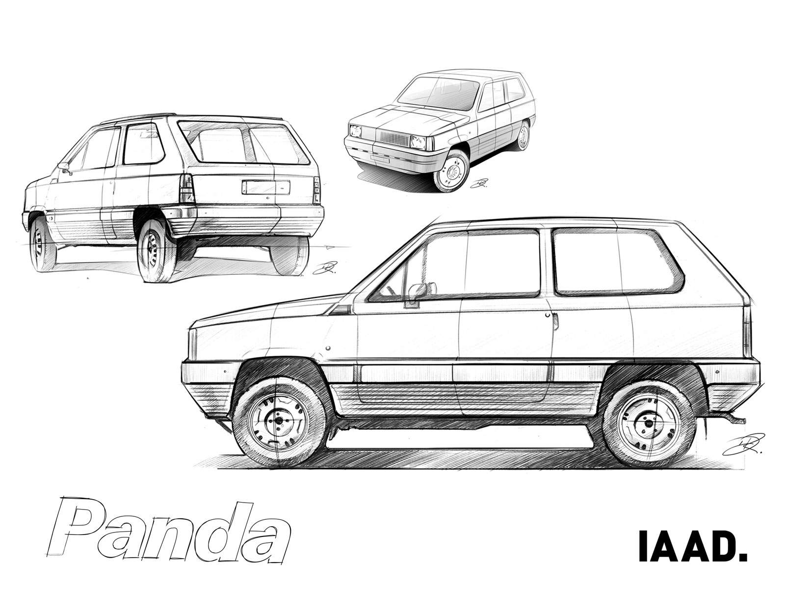 Fiat Panda 40th Anniversary Design Sketches IAAD