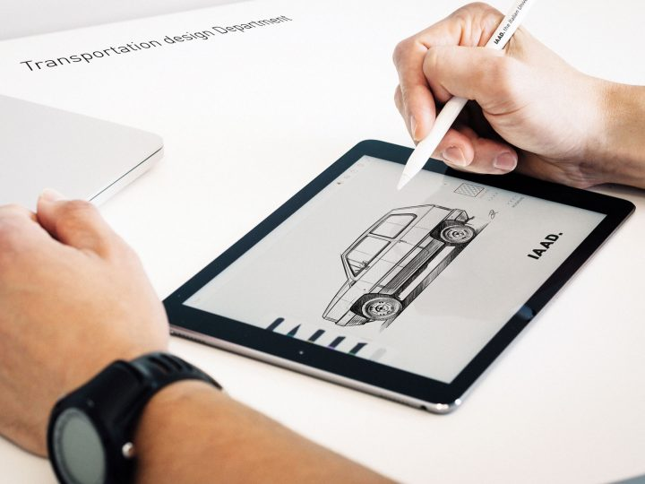 Fiat Panda Design Sketching on iPad with Apple Pencil at IAAD